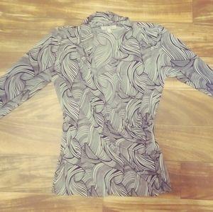 Chaus new york blouse black white medium
